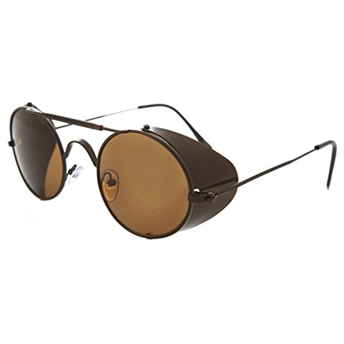 Bronze Steampunk Sunglass with Folding Side Shields with Brown Lens - - Sunglass Museum