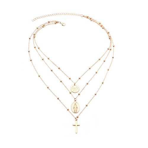 Dolland Bohemian Retro Carved Coin Bullion Virgin Mary Cross Pendant Clavicle Necklace Multi-Layer Bead Chain Necklace,Gold Coin