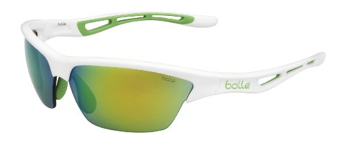 Bolle Edge - Bolle Tempest Sunglasses, Shiny White Green Edge Frame, Green Emerald Lens