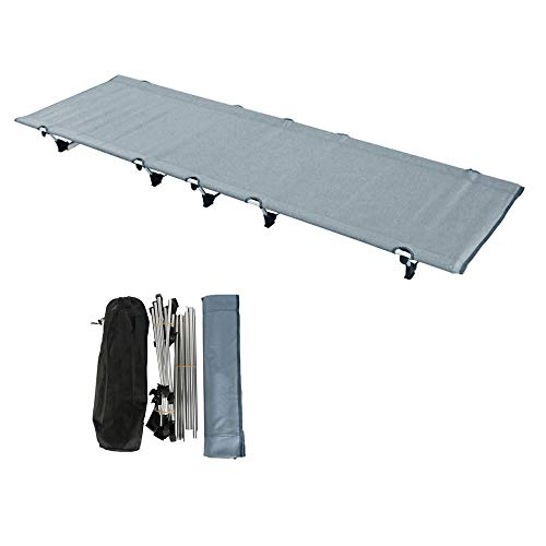 Ultralight Portable Folding Single Camp Tent Cot Bed Aluminium Alloy Metal Frame Heavy Duty Include Storage Bag for Indoor Outdoor Hiking Fishing Hunting Car Travel for Adult or Kids