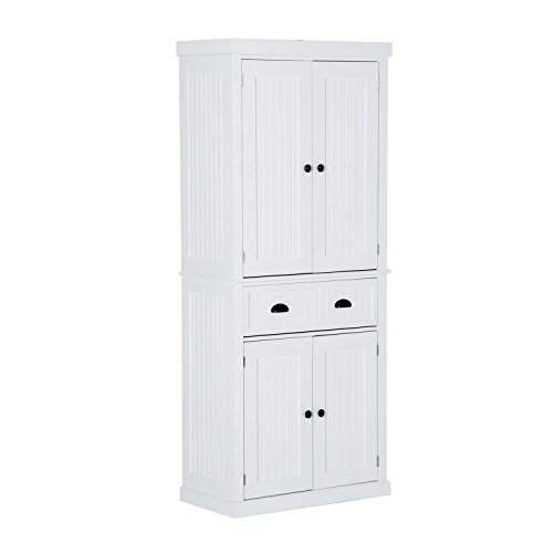 "HOMCOM 72"" Traditional Colonial Standing Kitchen Pantry Cupboard Cabinet - White"