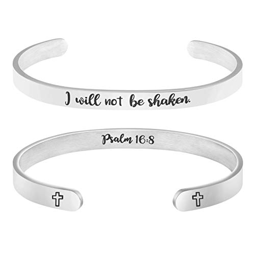 MEMGIFT I Will Not Be Shaken Psalm 16:8 Bracelet Bible Verse Mantra Jewelry Christian Gifts for First Communion