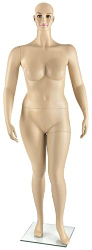 Displays2go Full Figured Body Form, Painted Female Features, Detachable Torso, Arms, Leg, Hands, Fiberglass Construction - Fleshtone (ZRFMW1S) by Displays2go