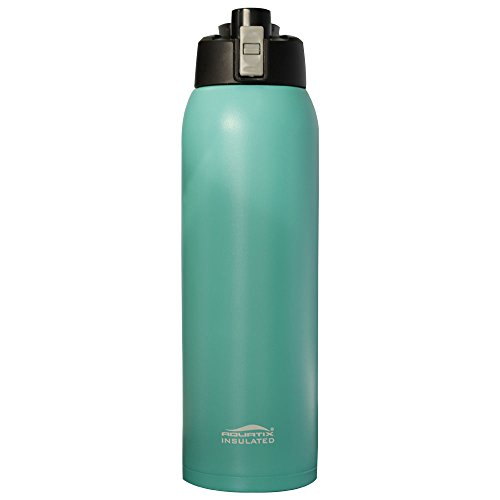 Aquatix (Turquoise, 32 Ounce) Pure Stainless Steel Double Wall Vacuum Insulated Sports Water Bottle with Convenient Flip Top - Keeps Drinks Cold for 24 Hours, Hot for 6 Hours