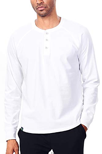 (Zengjo Mens Henley Long Sleeve Reglan Shirts Soft Washed Heavy Cotton 3-Button Henley Tee (M,White))
