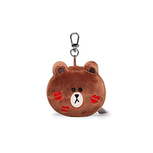 LINE FRIENDS Plush Keychain Ring - BROWN Lips Character Face Cute Soft Bag Charm Key Holder, 4 inch, Brown/Red