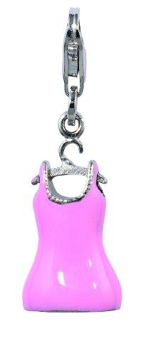 Amore & Baci Charming Life Silver Pink Dress On Hangar Charm - Fits On Thomas Sabo Giorgio Martello and Ti Sento