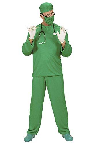 Chirurg, Krankpfleger Arzt Chirurgkostüm Herren Gr. L inkl. Hose Oberteil Kappe Mundschutz Stethoskop und Gummihandschuhe Karneval Fasching