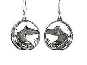 Horse Head Earrings (Round Beautiful Horse Head Charm Silver Earring Special Stylish Designed for Crazy Girl Horse Lovers)