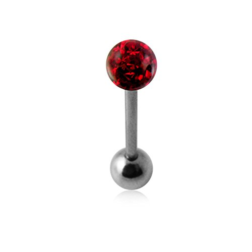 Red Epoxy Multi Crystal Stone Tongue Ring. 14Gx9/16(1.6x14mm) 316L Surgical Steel Barbell with 6MM Crystal Stone Ball and 6MM Surgical Steel Ball. (6mm Chili Pepper)