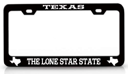 ASUIframeNJK License Plate Covers Texas The Lone Star State Texas Map Steel Metal License Plate Frame Bl # - License Eagle Plate Frame Lone