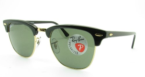Ray-Ban Sunglasses - RB3016 Clubmaster / Frame: Black Lens: Green Polarized - Clubmaster Ban Sunglasses Ray Polarized