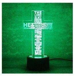 3D Die Jesus - Kreuz Optische Illusions-Lampen, Tolle 7 Farbwechsel Acryl berühren Tabelle Schreibtisch-Nachtlicht mit USB-Kabel für Kinder Schlafzimmer Geburtstagsgeschenke Geschenk RXHK