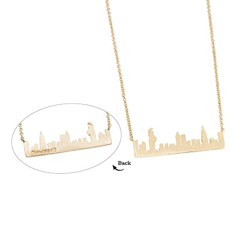 New York City Skyline Necklace NYC Outline Landscape USA Brass Bar Pendant Handmade Jewelry Souvenir Gift BN570-G