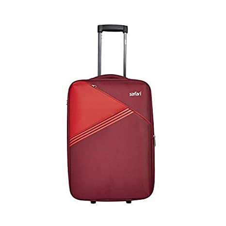 Safari Angle 66 Cms Polyester Red Check-In 2 Wheels Soft Suitcase