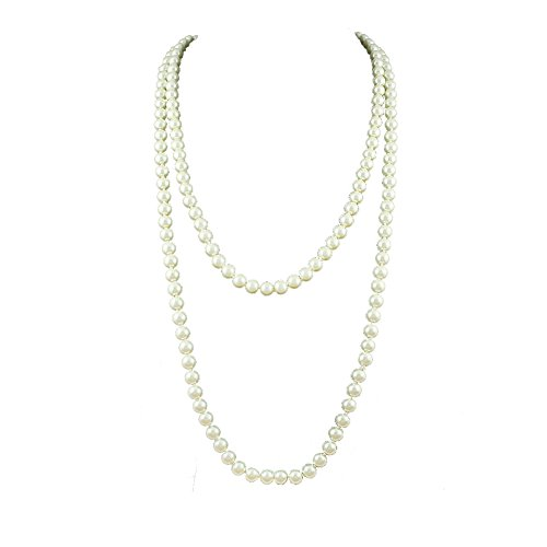 Micaa 8mm Faux Pearl Necklace Hand Knotted Long White Flapper Beads Choker Jewelry for Women Wedding Dress (white)