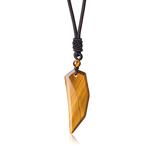 (COAI Tiger Eye Stone Spike Wolf Tooth Amulet Pendant)