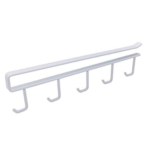 Xcellent Global Cup Storage Holder Under Shelf for 5 Mug Rack Storage Drying Holder Rack, Moving and Free Perforating HG187