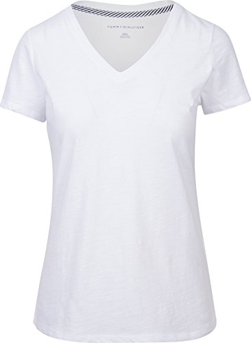 Tommy Hilfiger Womens V-Neck Solid Color Logo T-Shirt - S - White (No Logo)