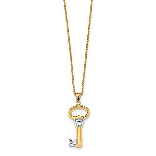 Lex & Lu Leslie's 14k Yellow Gold & White Rhodium-plated Polished Key Pendant-Prime