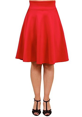 Sidecca 1950's Retro Midi High Waist Knee Length Flared A-Line Skater Skirt (Medium, Red)