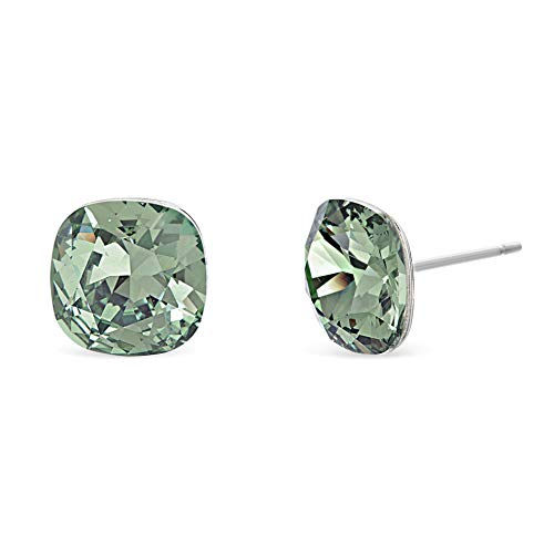 Devin Rose Cushion Solitaire Stud Earrings for Women in Stainless Steel made with Swarovski Crystal (Green Color)