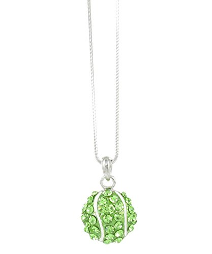 Small Tennis Ball Rhinestone Pendant Necklace - Green Crystal and White Enamel ()