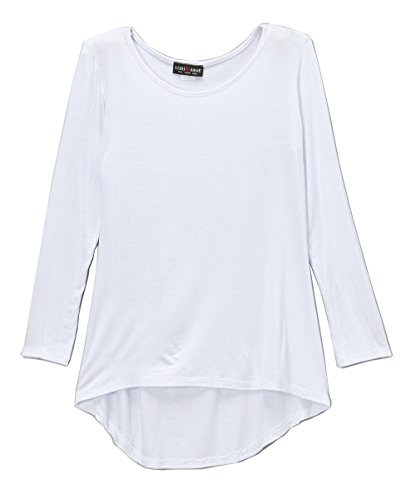 Lori&Jane Long Sleeve Boho Tunic Top Solid Flowy Loose Fit Soft Girls Made in USA (White, 8/10) from Lori&Jane