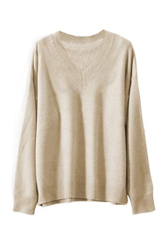 Cashmere Beige Sweater (ALBIZIA Women's V-Neck Long Sleeve Ribbed Knited Pullover Sweaters M Beige)