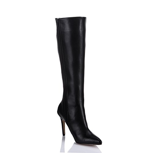 The high quality and boots the new Black simulated leather pointed-toe high-heel shoes in the Ladies Boot Black kw1TMTX