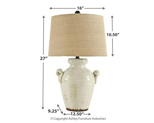 "Signature Design by Ashley Emelda Farmhouse Ceramic Table Lamp, 27"", Cream Glaze Crackle Finish"