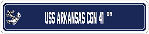 Missile Ship - USS ARKANSAS CGN 41 Street Sign GUIDED MISSILE Navy Ship Veteran Sailor