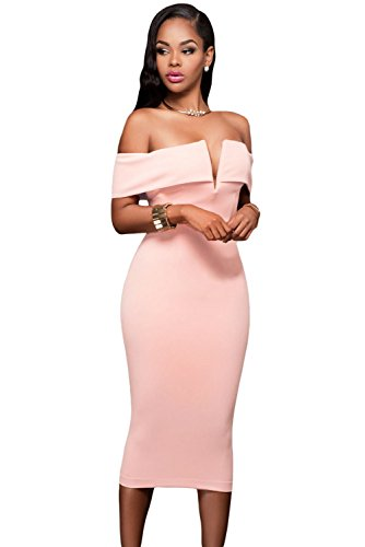 Anloli Women Pink Midi Dresses Off Shoulder Ruffles Batwing Sleeve Cape Party Bodycon Dress (Back Zip Cape)