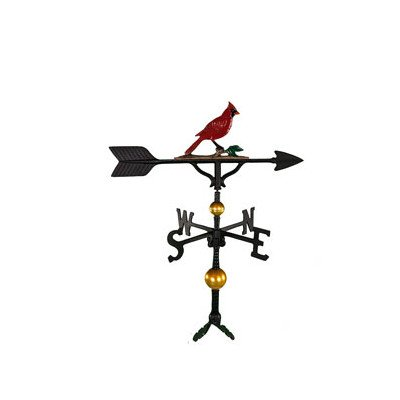 Cardinal Weathervane (Montague Metal Products 32-Inch Deluxe Weathervane with Color Cardinal Ornament)