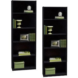 Ameriwood 5 Shelf Adjustable Bookcase, Set of 2,