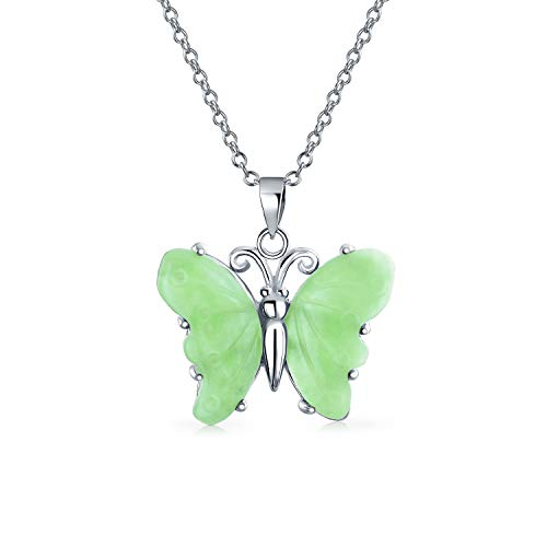 Butterfly 5CTW Carved Dyed Light Green Jade Pendant 925 Sterling Silver Garden Necklace For Women Girlfriend With ()