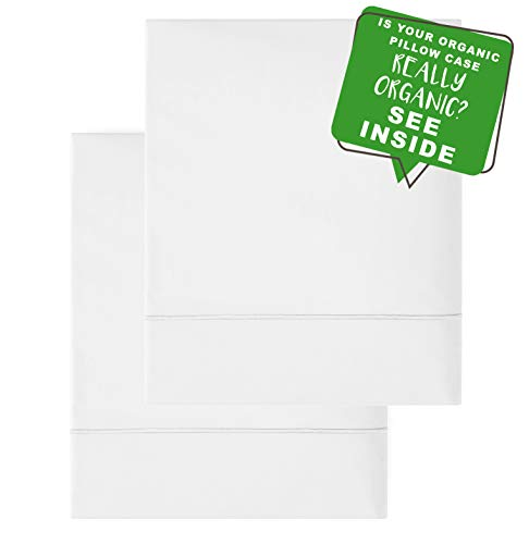 MakeMake Organics GOTS Certified Organic Pillow Cases (Set of 2) | Super Soft Sateen Organic Cotton Pillow Cases | Envelope Closure Anti Allergy Chemical Free | Bright White | (Standard/Queen) -