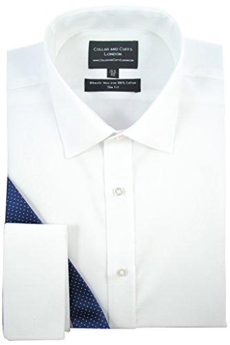 CHEMISE SANS REPASSAGE BLANCHE - HOMME - Un Tissu de Grande Qualité, 100% Coton - Sergé Blanc - Cintrée, Slim Fit - Manche Longue, Poignet Mousquetaire