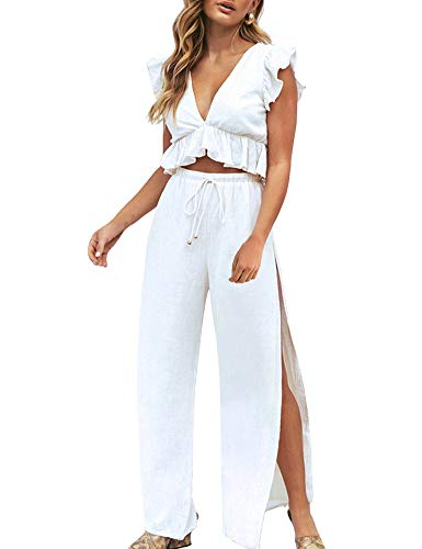 FANCYINN Womens 2 Pieces Outfits Deep V Neck Crop Top Side Slit Drawstring Wide Leg Pants Set Jumpsuits White M