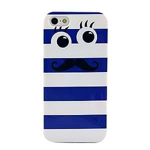 YULIN azul patrón lindo bigote suave IMD caso del tpu para el iphone 5/5s