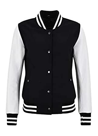 Ladies Varsity College Jacket Black Fabric with White Leather Sleeve Biker Style (10)