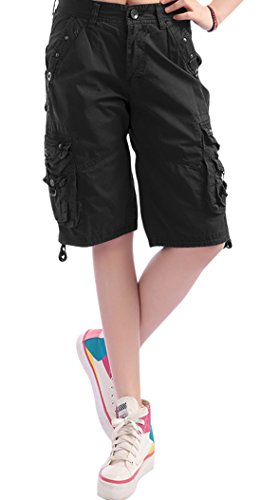 (chouyatou Women's Casual Loose Fit Multi-Pockets Twill Bermuda Cargo Shorts (XX-Large, Black))