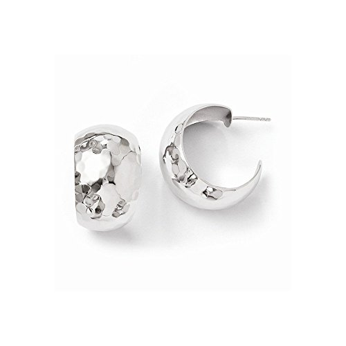 (Sterling Silver Polished Hammered Post Earrings)