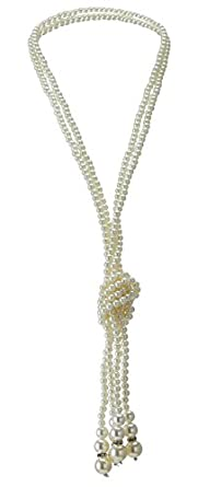 Vintage Style Jewelry, Retro Jewelry QNPRT 1920s Gatsby Necklace Faux Ivory Pearl Cream Extra Long $9.99 AT vintagedancer.com