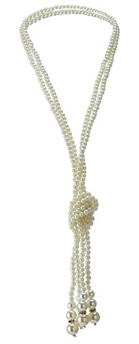 QNPRT 1920s Gatsby Beads Necklace Faux Ivory Pearl Cream Extra Long (Flapper Girls Dresses)