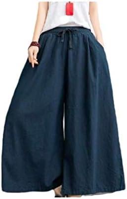 女性薄いドローストリングソリッドリネンオーバーサイズコージーワイドレッグパラッツォパンツ