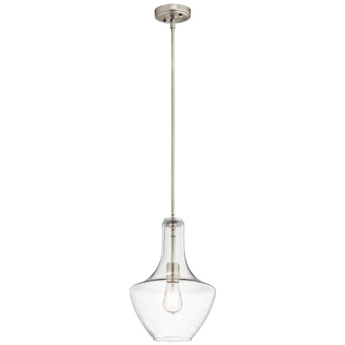 Kichler Lighting 42141NICS Everly 1LT Pendant, Brushed Nickel Finish with Clear Seedy Glass (Nickel Chandelier Lighting)
