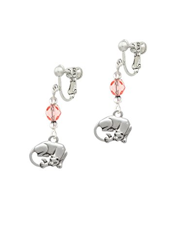 Pink Panther Ears (Panther Pink Czech Glass Bead Clip On Earrings)