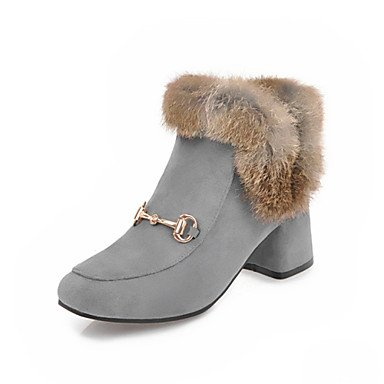 Heart&M Mujer Zapatos Vellón Invierno Innovador Botas de Moda Botas Tacón Robusto Dedo cuadrada Mitad de Gemelo Para Boda Casual Negro Gris black