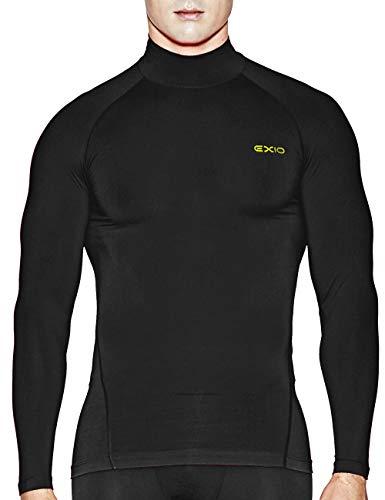 EXIO Japan Men's Mock Turtleneck Compression Shirt Cool&Dry Baselayer Top EX-T02 (Small, EXT02-BK)